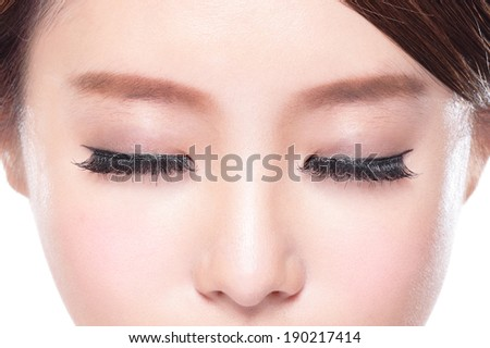 close up of attractive woman closed eyes, asian beauty - stock photo