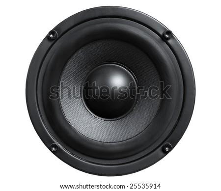 Close up of audio black loudspeaker isolated white - stock photo