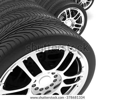Close-up of automobile wheels. 3D render Illustration on White Background - stock photo