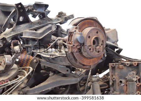 Close up of automotive garbage isolated on white background - stock photo
