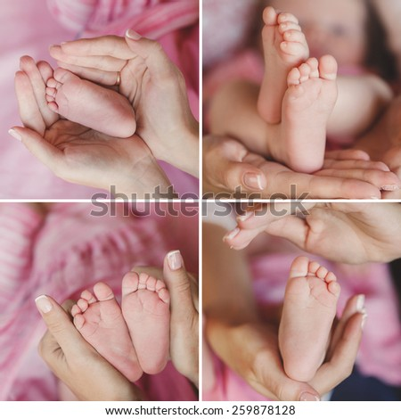 Close-up of baby's feet collage. Mother holding baby. Baby's feet. collage newborn. baby in mom's hands. Mother. Baby.  - stock photo