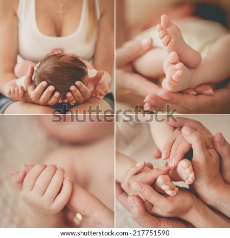 Close-up of baby's hands and feet collage. Mother holding baby. Baby's feet. collage newborn - stock photo