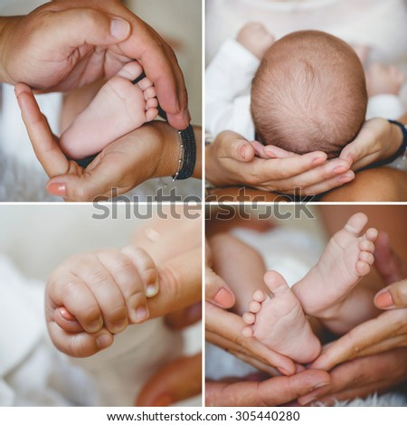 Close-up of baby's hands and feet collage. Mother holding baby. Baby's feet. collage newborn. baby in mom's hands. Collage - stock photo