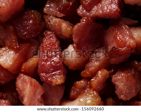 close up of bacon bits food background - stock photo