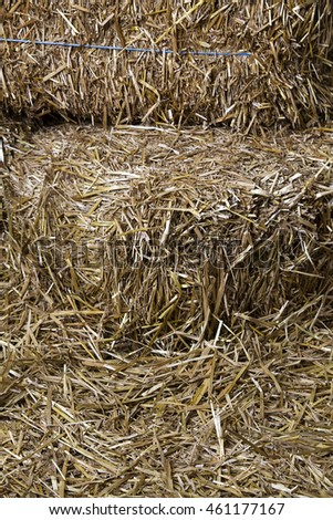 close up of bales of straw