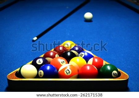 Close up of 8 ball set-up