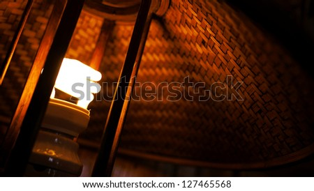 Close up of Bamboo Desk Lamp or Table Lamp. - stock photo