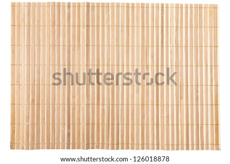 Close up of bamboo mat background isolated on white - stock photo