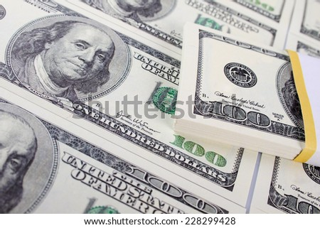 Close-up of banknotes of 10 dollar. Stacks of money
