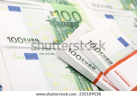 Close-up of banknotes of 10 euro. Stacks of money - stock photo