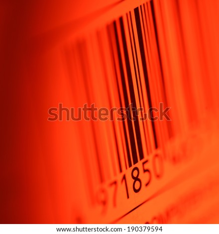 Close up of Bar code label on paper - stock photo