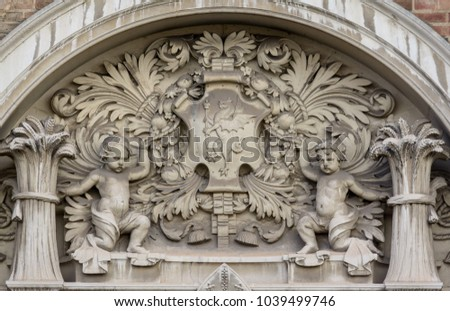 Close up of Bas-relief of Taunton County Hall, Shallow Depth of Field Horizontal Photography, Sculpture above main door