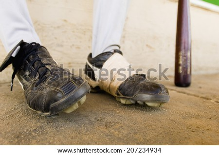 Close-up of Baseball Player's Feet - stock photo