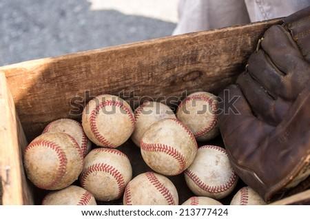 Close up of baseballs - stock photo