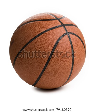 Close up of basket ball isolated on white background.