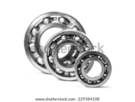 Close up of bearings isolated on white