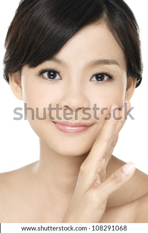 Close up of beautiful asian woman face - stock photo