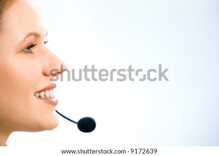 Close-up of beautiful consultant in profile isolated on a white background