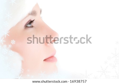 Close-up of beautiful face of woman isolated on white - stock photo