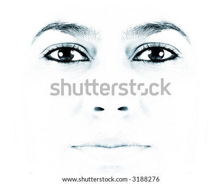 Close-up of beautiful face of woman on white background