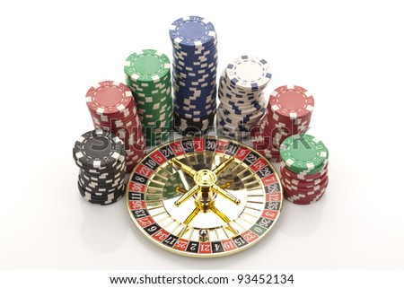 Close-up of beautiful gold roulette with chips on a white background. - stock photo