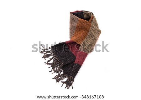 Close up of beautiful retro multicolor fabric scarf on white background isolated - stock photo