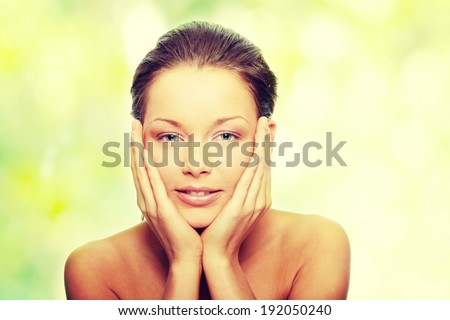 Close-up of beautiful spa woman face