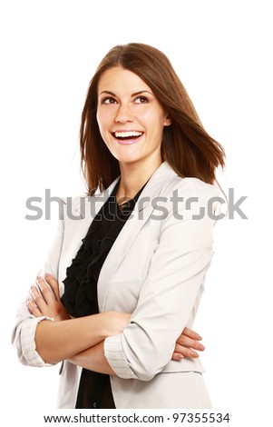 Close-up of beautiful sucessful businesswoman with folded arms, isolated on white background