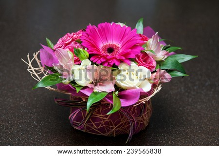 close up of beautiful wedding bouquet - stock photo
