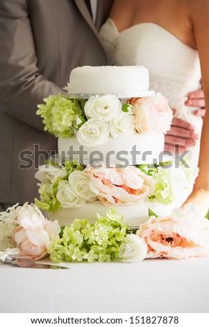 Close Up Of Beautiful Wedding Cake - stock photo