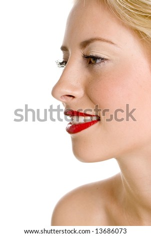Close-up of beautiful woman - stock photo