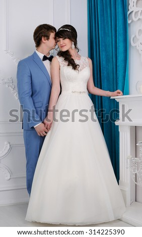 Close up of beautiful woman and man. Wedding dress. Wedding accessories