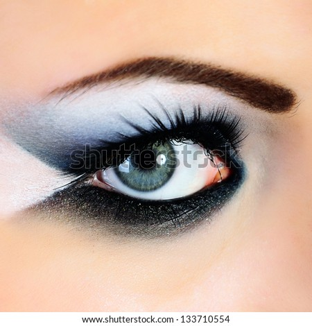 close-up of beautiful woman eye