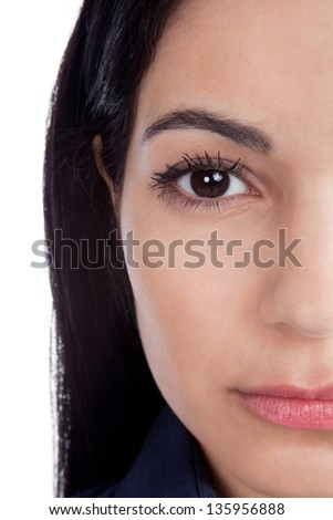Close-up of beautiful woman face isolated on white background. - stock photo