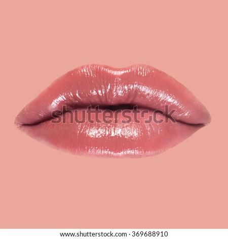 close-up of beautiful woman lips isolated - stock photo