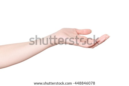 Close-up of beautiful woman's hand isolated on white background