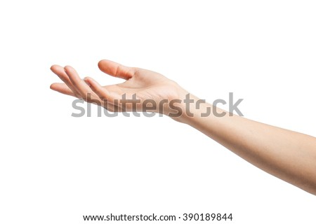 Close-up of beautiful woman's hand isolated on white background. Palm up - stock photo