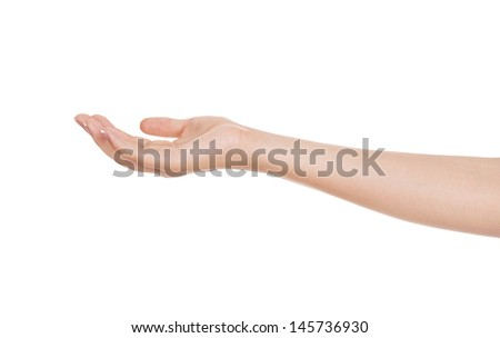 Close-up of beautiful woman's hand, palm up. Isolated on white background