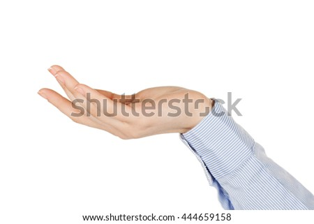 Close-up of beautiful woman's hand, palm up sleeve shirt. Isolated on white background   - stock photo