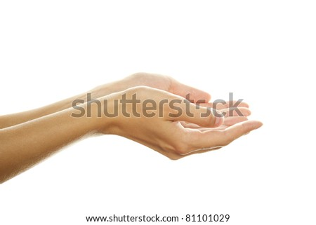 Close-up of beautiful woman's hands, palms up. Isolated on white background - stock photo