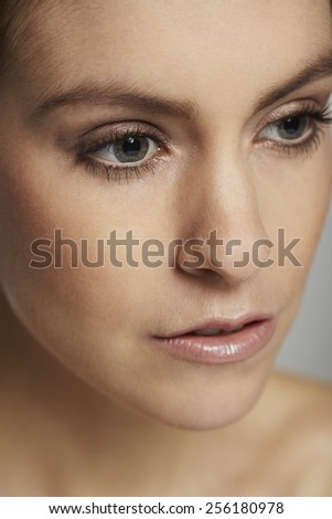 Close up of beautiful woman, studio shot