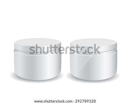 Close up of beauty cream container on white background - stock photo