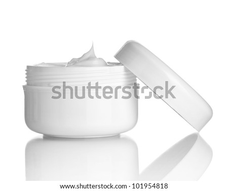 close up of  beauty cream container on white background with clipping path - stock photo