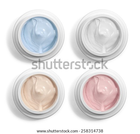 close up of  beauty cream or yogurt on white background  - stock photo