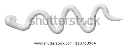 close up of beauty cream stroke on white background with clipping path - stock photo