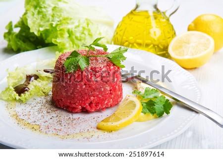 Close up of beef tartar - stock photo