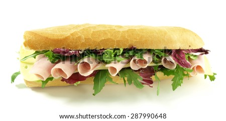 Close-up of big and tasty sandwich, panorama - stock photo