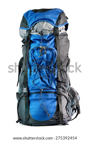 Close up of big backpack isolated on white background, selective focus.  - stock photo
