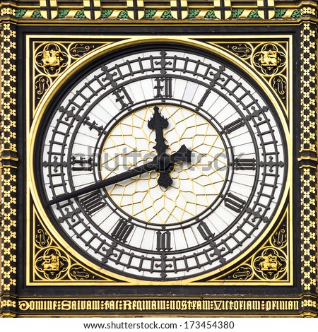 Close-up of Big Ben, Clock Tower, Westminster Palace, London  - stock photo
