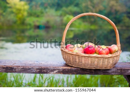 Close up of Big straw basket with red and yellow apples on a bench by the lake - stock photo